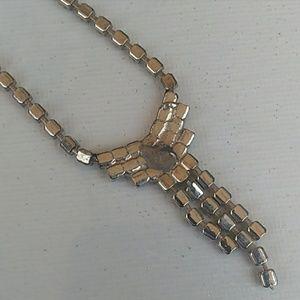 Vintage Jewelry - VINTAGE SilverTone Rhinestone Tassel Nklc &Earring